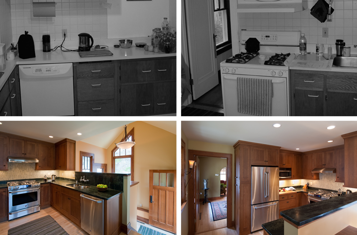 Kitchen bungalow transformation, before and after
