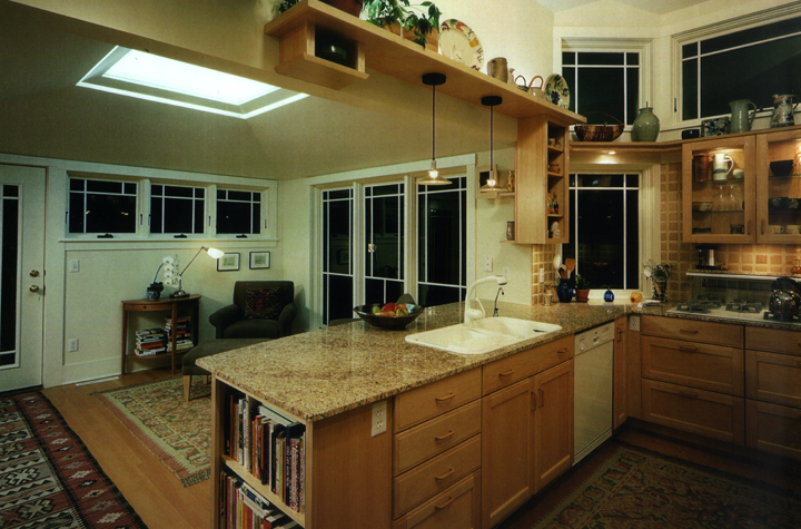 Kitchen, cabinetry, skylight