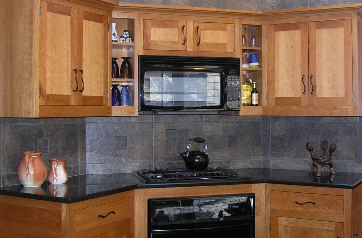 Corner detail, granite counters, tile backsplash